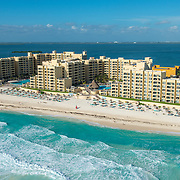 Aerial view of the Royal Resorts hotels. Cancun, Mexico.