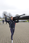 Eton, GREAT BRITAIN,  Matt WELLS, carries his boat, GB Trials 3rd Winter assessment at,  Eton Rowing Centre, venue for the 2012 Olympic Rowing Regatta, Trials cut short due to weather conditions forecast for the second day Saturday  12/02/2011   [Photo, Peter Spurrier/Intersport-images]
