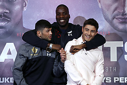 (From left to right) Joe Cordina, Lawrence Okolie and Josh Kelly during a press conference at Sky Sports Studios, Isleworth.