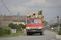 Truck carrying poplar logs, Duna Drava National Park, Mohacs, Hungary