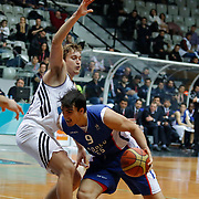 Anadolu Efes's Dario Saric (R) during their Turkish basketball league match Besiktas integral Forex between Anadolu Efes at BJK Akatlar Arena in Istanbul, Turkey, Monday, January 05, 2015. Photo by TURKPIX
