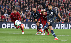 File photo dated 07-10-2018 of Manchester City's Riyad Mahrez misses a penalty during the Premier League match at Anfield, Liverpool.