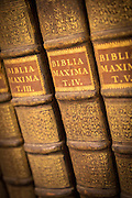 Ancient books inside Il Redentor Library on the island of Giudecca, Venice, Italy, Europe