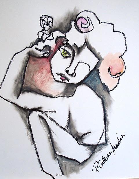 Mixed Media - Blind Drawing -14x17
