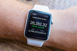 Summary of Hang Seng Index stock market performance  showing on an Apple Watch