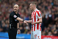 referee Anthony Taylor speaks to Ryan Shawcross of Stoke city. Premier league match, Stoke City v Chelsea at the Bet365 Stadium in Stoke on Trent, Staffs on Saturday 18th March 2017.<br /> pic by Andrew Orchard, Andrew Orchard sports photography.