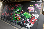 The Underdog Gallery street art featuring work by Dave Bree and Charlie Mcfarley, located on Bateman Row on the 13th November 2018 in Shoreditch, London in the United Kingdom. The Underdog London is a gallery space in London Bridge.