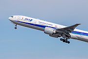 An ANA Boeing 777-300EW Aircraft takes off for Tokyo Los Angeles International Airport (LAX) on Friday, February 28, 2020 in Los Angeles. (Brandon Sloter/Image of Sport)