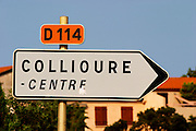 D114 towards Collioure centre. Collioure. Roussillon. France. Europe.