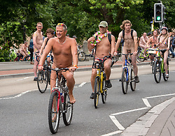 "© Licensed to London News Pictures.  <br /> 17/06/2018; Bristol, UK. The World Naked Bike Ride takes place through Bristol city centre. The event sees hundreds of naked and near naked cyclists cycle around Bristol city centre to campaign for improved cycle routes in Bristol and to raise awareness of the dangers and vulnerability cyclists in the city face on a daily basis. The event included a symbolic ""die-in"" to commemorate the 23 cyclists that have been killed on Bristol's roads. Photo credit: Simon Chapman/LNP"