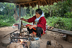 NO WEB/NO APPS - Exclusive. (Text available) A woman is cooking one of the community's favorite dishes, a Chicharron monkey hunted by her grandson in the afternoon, in 'Palma Real' native community, near Puerto Maldonado, Peru on July 17, 2017. The Amazon rainforest is famous as 'The Lung of the Earth', but also for the presence of numerous native communities, who have always lived isolated and in close contact with nature for generations, used to seek for food and medicines and to build items directly from the environment in which they live. The unstoppable rise of globalization has drastically changed their needs, expectations and consequently their way of life. Located in the Tambopata National Reserve, on the border between Peru and Bolivia, the native Comunidad Palma Real is one of the clearest examples of this change. Living on the banks of the Madre de Dios River since approximately 1976, Palma Real comprises about 300 people part of the nomadic community Ese-Eja, established in the Amazon rainforest of Peru before the Spanish colonization. Photo by Giacomo d'Orlando/ABACAPRESS.COM