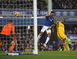 Gaetan Bong of Brighton and Hove Albion (R) scores an own goal for Everton's first - Mandatory by-line: Jack Phillips/JMP - 10/03/2018 - FOOTBALL - Goodison Park - Liverpool, England - Everton v Brighton and Hove Albion - English Premier League
