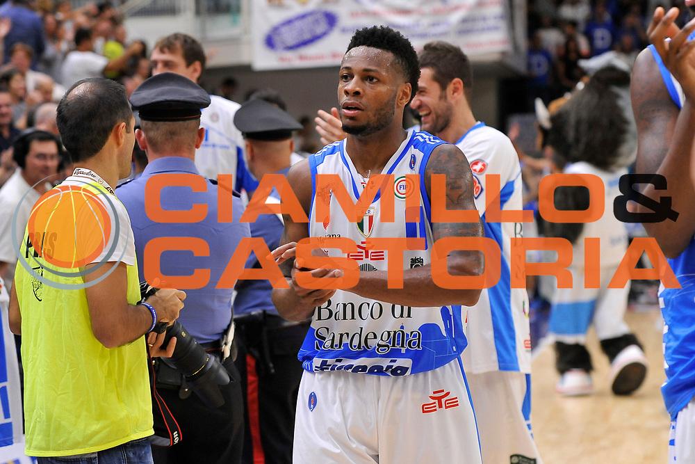 DESCRIZIONE : Beko Legabasket Serie A 2015- 2016 Dinamo Banco di Sardegna Sassari -Vanoli Cremona<br /> GIOCATORE : MarQuez Haynes<br /> CATEGORIA : Ritratto Esultanza Postgame<br /> SQUADRA : Dinamo Banco di Sardegna Sassari<br /> EVENTO : Beko Legabasket Serie A 2015-2016<br /> GARA : Dinamo Banco di Sardegna Sassari - Vanoli Cremona<br /> DATA : 04/10/2015<br /> SPORT : Pallacanestro <br /> AUTORE : Agenzia Ciamillo-Castoria/C.Atzori