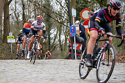 Carmen Small descends off Kemmelberg for the final time - Women's Gent Wevelgem 2016, a 115km UCI Women's WorldTour road race from Ieper to Wevelgem, on March 27th, 2016 in Flanders, Belgium.