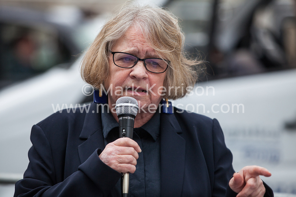London, UK. 3 May, 2019. Lindsey German, Convenor of Stop The War Coalition, addresses campaigners from the Campaign for Nuclear Disarmament (CND), Stop the War Coalition, the Peace Pledge Union, the Quakers and other faith groups protesting outside Westminster Abbey against the holding of a National Service of Thanksgiving to mark fifty years of the Continuous at Sea Deterrent (CASD) attended by dignitaries including the Duke of Cambridge and the newly appointed Defence Secretary Penny Mordaunt.