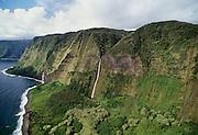 Waterfall, seacliff, North Kahala Coast, Island of Hawaii