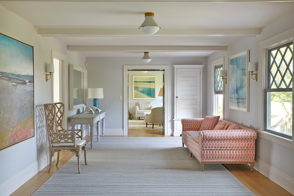 Sitting room of Rhode Island House.  Architecture by Noury-Ello Architects. Interior Design by Christine Lane Interiors