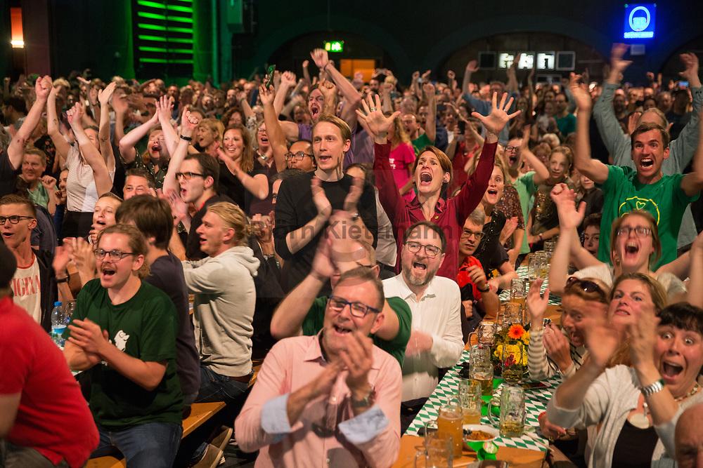 Muenchen, Bayern, Germany - 14.10.2018<br /> <br /> Gruene Wahlparty zur bayrischen Landtagswahl im Muffatwerk. Freude um 18 Uhr - laut Prognosen werden die Gruenen 2. staerkste Partei.<br /> <br /> Photo: Bjoern Kietzmann