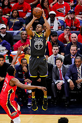 May 6, 2018 - New Orleans, LA, U.S. - NEW ORLEANS, LA - MAY 06:  Golden State Warriors forward Andre Iguodala (9) shoots a jump shot against New Orleans Pelicans forward Darius Miller (21) during game 4 of the NBA Western Conference Semifinals at Smoothie King Center in New Orleans, LA on May 06, 2018.  (Photo by Stephen Lew/Icon Sportswire) (Credit Image: © Stephen Lew/Icon SMI via ZUMA Press)