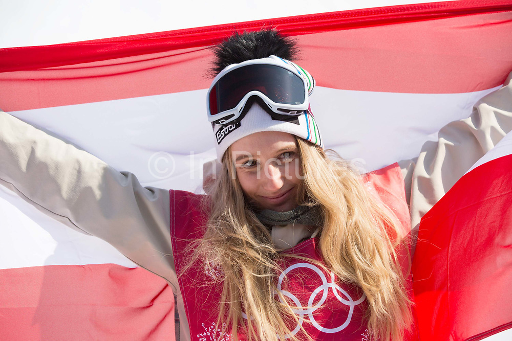 Anna Gasser, Austria, GOLD, during the womens snowboard big air flower ceremony at the Pyeongchang 2018 Winter Olympics on 22nd February 2018, at the Alpensia Ski Jumping Centre in Pyeongchang-gun, South Korea