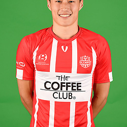 Charlie Slaney poses for a photo during the Olympic FC men's headshot session at Goodwin Park on January 21, 2018 in Brisbane, Australia. (Photo by Patrick Kearny/Olympic FC)