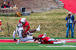 NORMAL, IL - October 02: Damien Jackson stops Jordan Murray during a college football game between the Bears of Missouri State and the ISU (Illinois State University) Redbirds on October 02 2021 at Hancock Stadium in Normal, IL. (Photo by Alan Look)