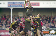 Gloucester, Gloucestershire, UK., 04.01.2003, Lawrence DALLAGLIO, collect the line out ball, during, Zurich Premiership Rugby match, Gloucester vs London Wasps,  Kingsholm Stadium,  [Mandatory Credit: Peter Spurrier/Intersport Images],
