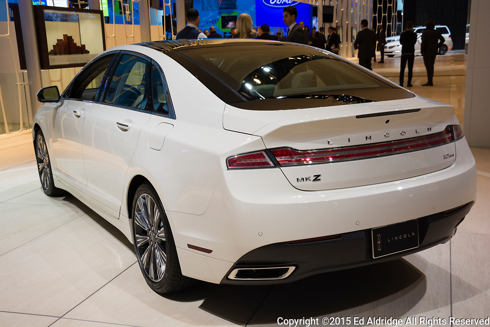 DETROIT, MI, USA - JANUARY 12, 2015: Lincoln MKZ on display during the 2015 Detroit International Auto Show at the COBO Center in downtown Detroit.