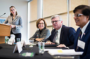 Appleton Mayor Tim Hanna, center, speaks during the Cap Times Idea Fest 2018 at the Pyle Center in Madison, Wisconsin, Saturday, Sept. 29, 2018.