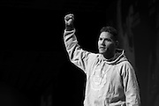 """Chris """"The All-American"""" Weidman takes the stage during the official UFC 187 weigh-in event at the MGM Grand in Las Vegas, Nevada on May 22, 2015. (Cooper Neill)"""