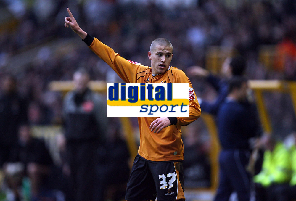 Photo: Rich Eaton.<br /> <br /> Wolverhampton Wanderers v Leeds United. Coca Cola Championship. 24/02/2007. Michael Kightly who scored the only goal of the game for Wolves acknowledges the fans