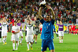 Goalkeeper of Slovenia Samir Handanovic and other players of Slovenia after the 2010 FIFA World Cup South Africa Group C Third Round match between Slovenia and England on June 23, 2010 at Nelson Mandela Bay Stadium, Port Elizabeth, South Africa.  (Photo by Vid Ponikvar / Sportida)