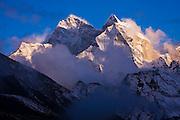 Kangtega (6780m) at sunset, as seen from Dingboche, Khumbu (Everest) region, Sagarmatha National Park, Himalaya Mountains, Nepal.