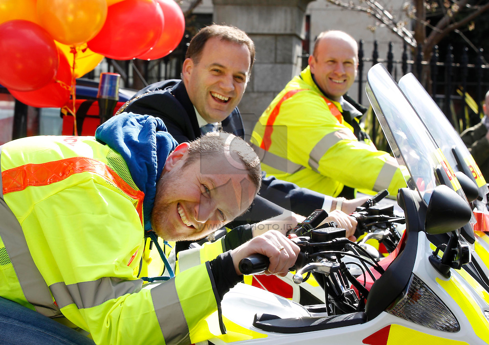 Pictured at the launch of Blood Bike East is comedian and motorcycle enthusiast, PJ Gallagher with Lord Mayor of Dublin, Naoise Ó Muirí and Pat McCabe, Blood Bike East. Blood Bike East is a charitable organisation that delivers blood & medical products by motorbike between hospitals in Leinster free of charge. It is an entirely volunteer run organisation and Blood Bike East riders are highly trained and can safely negotiate traffic where large vehicles would be unable to do so, unless an emergency blue light vehicle is taken off an already overstretched service. DoneDeal's recent donation of ?32,309 facilitated the purchase of additional motorcycles and their maintenance which was key to today's launch that sees the service roll out across all of Leinster. Pic Andres Poveda
