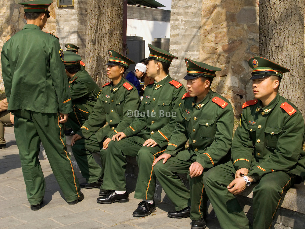 young Chinese elite soldiers having a break