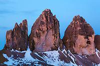 Mountain impression Tre Cime - Europe, Italy, South Tyrol, Sexten Dolomites, Tre Cime - Dawn - July 2009 - Mission Dolomites Tre Cime