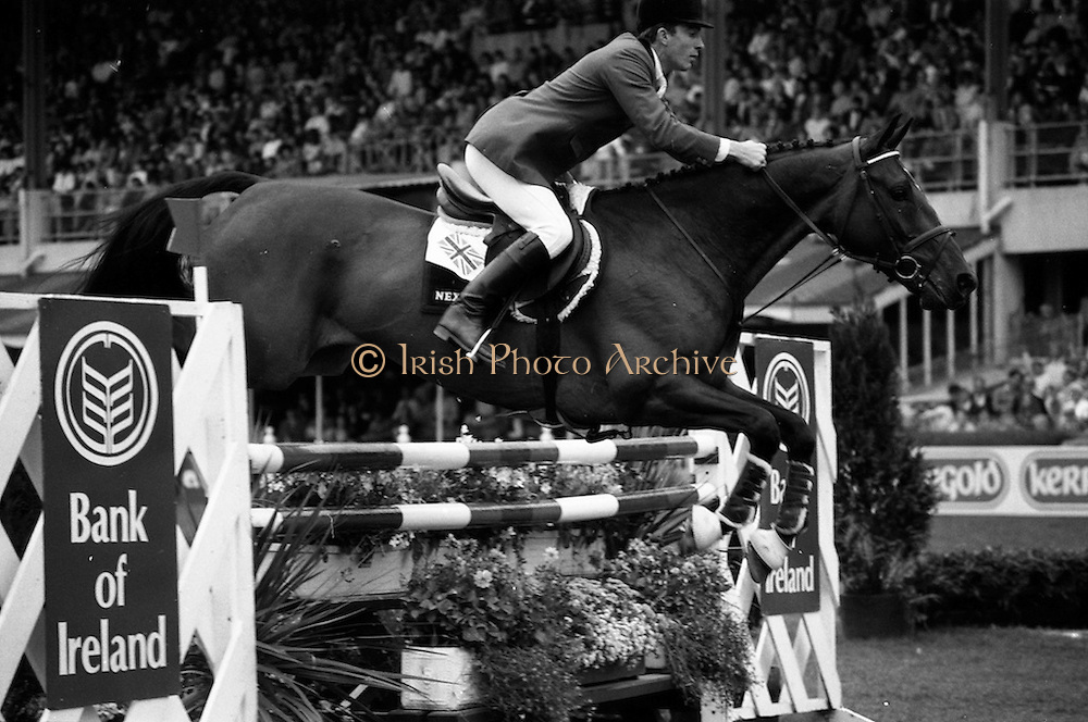 """07/08/1987<br /> 08/07/1987<br /> 07 August 1987<br /> Bank of Irelands Nations Cup for the Aga Khan trophy competition.Michael Whitaker (G.B.) on """"Next Warrenpoint""""."""
