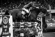 "07/08/1987<br /> 08/07/1987<br /> 07 August 1987<br /> Bank of Irelands Nations Cup for the Aga Khan trophy competition.Michael Whitaker (G.B.) on ""Next Warrenpoint""."