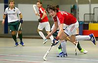 ARNHEM -  Christaan Collot d'Escury van Hurley. De mannen van Hurley tijdens de eerste dag van de zaalhockey competitie in de hoofdklasse, seizoen 2013/2014. FOTO KOEN SUYK