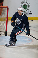 KELOWNA, BC - SEPTEMBER 23:  Ryan Nugent-Hopkins #93 of the Edmonton Oilers skates during practice at Prospera Place on September 23, 2019 in Kelowna, Canada. (Photo by Marissa Baecker/Shoot the Breeze)