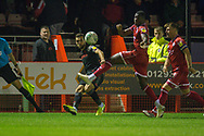 Stoke City player Tommy Smith crosses the ball into the box in the second half during the EFL Cup match between Crawley Town and Stoke City at The People's Pension Stadium, Crawley, England on 24 September 2019.