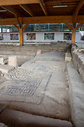Mosaic floor in the ancient synagogue at the ruins of the ancient fishing village of Magdala (Mejdel) current day Migdal. On the Sea of Galilee, Israel  It is believed to be the birthplace of Mary Magdalene.