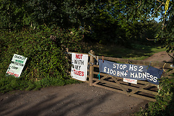 A sign and banners are displayed at the entrance to Crackley Woods Protection Camp on 24th August 2020 in Kenilworth, United Kingdom. Anti-HS2 activists continue to protest against and attempt to prevent or delay works in connection with the controversial HS2 high-speed rail link from a series of camps along the Phase One route from Euston to north of Birmingham.