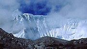 See the ice wall of Caraz (19,700 feet) on the Santa Cruz Trek, in Huascaran National Park, Cordillera Blanca, Andes Mountains, Huaraz, Peru, South America. UNESCO honored Huascaran National Park on the World Heritage List in 1985. Cordillera Blanca mountain range is in the Sierra Central of the Peruvian Andes.