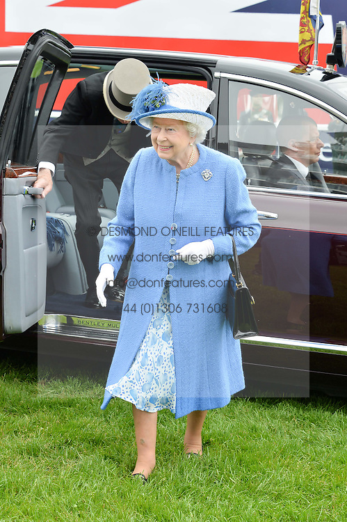 HM THE QUEEN at the Investec Derby at Epsom Racecourse, Epsom, Surrey on 4th June 2016.