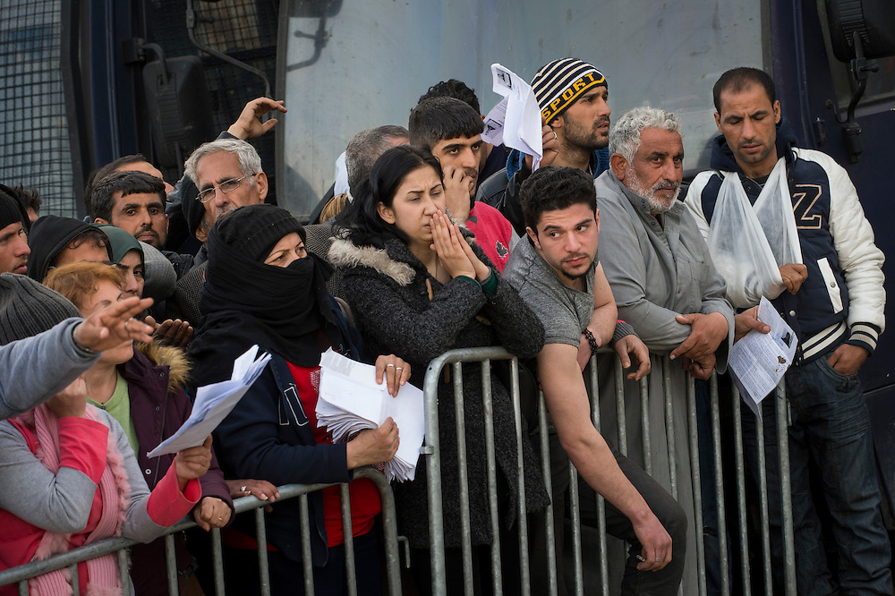 March 3, 2016, Idomeni, Greece. Refugees who hope to get on a waiting list to cross the border. Only a few get through every day and can continue their journey to Western Europe.   12.000 refugees are stuck at the Idomeni border crossing in Greece  after Macedonia closed the border.  New arrivals come in every day, making living conditions difficult.(Steven Wassenaar/Polaris)