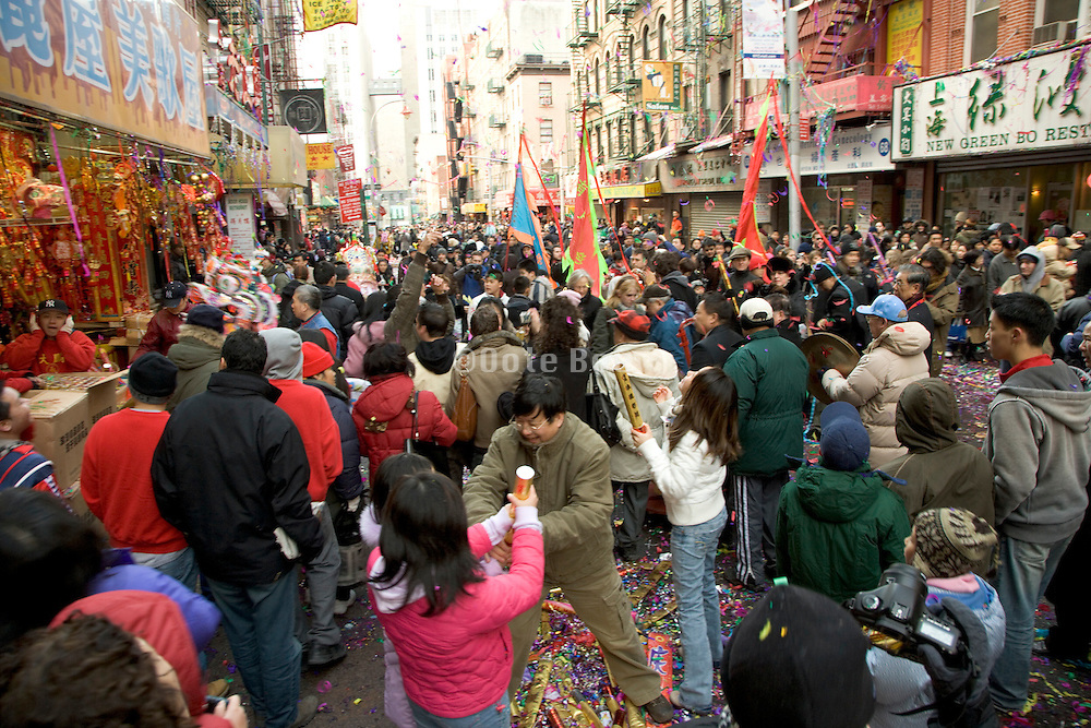 Chinese New Year party crowd in Chinatown New York City