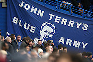 a Large banner of John Terry, the Chelsea captain is displayed in the crowd before k/o. Barclays Premier league match, Chelsea v Manchester Utd at Stamford Bridge in London on Sunday 7th February 2016.<br /> pic by John Patrick Fletcher, Andrew Orchard sports photography.