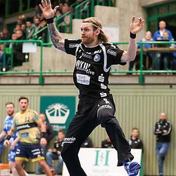 BHCs Bjoergvin Gustavsson (Nr.01) in der Luft  im Spiel der Handballliga, Bergischer HC - Rhein-Neckar Loewen.<br /> <br /> Foto © PIX-Sportfotos *** Foto ist honorarpflichtig! *** Auf Anfrage in hoeherer Qualitaet/Aufloesung. Belegexemplar erbeten. Veroeffentlichung ausschliesslich fuer journalistisch-publizistische Zwecke. For editorial use only.