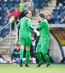 Falkirk's keeper Jamie MacDonald subbed by keeper Graham Bowman. Falkirk  2 v 2 Rotherham Utd, pre-seaon friendly.<br /> © Michael Schofield.